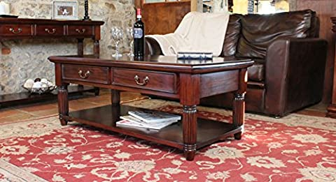 La Roque Solid Mahogany Large Coffee Table with Drawers Gloss