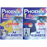 A4 Size Iron On T Shirt Transfer Paper FOR White & Light and Black & Dark Colour Fabrics 10 Sheets of Light + 10 Sheets of Dark : print your own designs, drawings, company logos for business marketing, mottos, motifs, clip art, digital camera photos of family, friends, pets, bithhdays, hobby and School football clubs, Pub quiz, hen and stag party using ink jet printers
