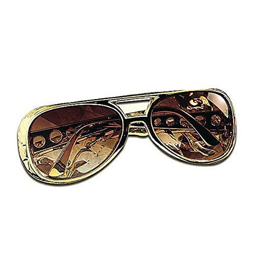Folat Aptafêtes–ac1155–Brille Elvis Gold UV400 (Rock Sängerin Kostüme)