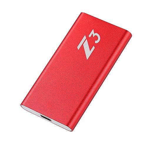 Docooler Disque SSD KingSpec SSD 128 Go Portable SSD Type C USB3.1 Gen1 SSD Externe (Z3-128) 3D MLC NAND Compatible avec USB3.0/2.0 SSD