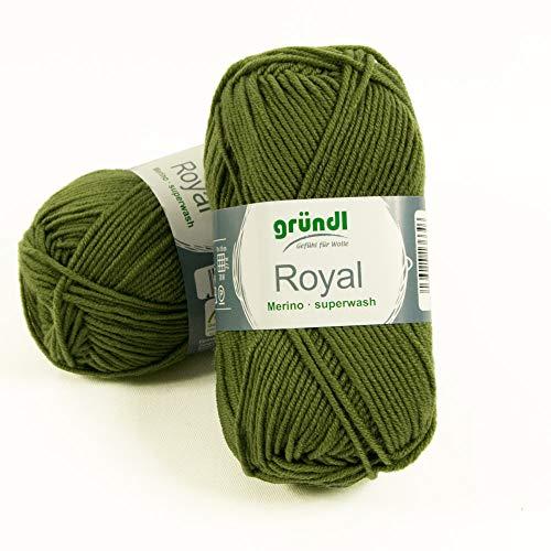 Gründl Wolle Royal Merino Superwash olivgrün Stricken Garn Knäul - Preis Gilt für 1 Knäul -