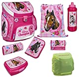 Familando Horse Champion Pferde Schulranzen-Set 8tlg. rosa Scooli Campus Up Dose Flasche Federmappe gefüllt und Regenschutz