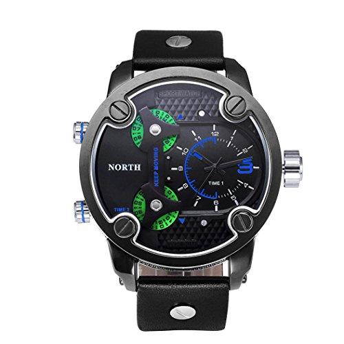 Preisvergleich Produktbild Sansee Drei Zeit-Bewegungen Quarz-Armbanduhr Leder Sport Herren-Uhr-NORTH Männer dritten Grad wasserdichte Quarzuhr N-6001-2 (Blau)