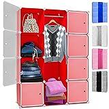Kesser® DIY Kleiderschrank Schrank Steckregal ✓ Schuhschrank ✓ Regalsystem ✓ Garderobe | Belastbar | Größe: 12 Boxen / 600 Liter | Farbe: Rot