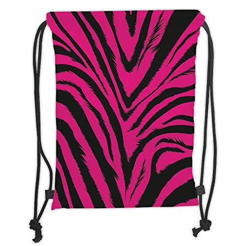 Icndpshorts Teen Room Decor,Vibrant Zebra Skin Motif in Hot Tone Africal Animal Safari Fashion Image Decorative,Magenta Black Soft Satin,5 Liter Capacity,Adjustable S - Safari Room Decor