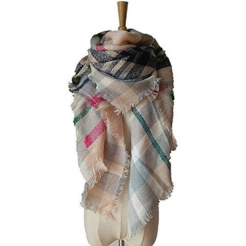 XJoel las mujeres grandes de la bufanda suave manta caliente de la tela escocesa de la bufanda del mantón del abrigo de la