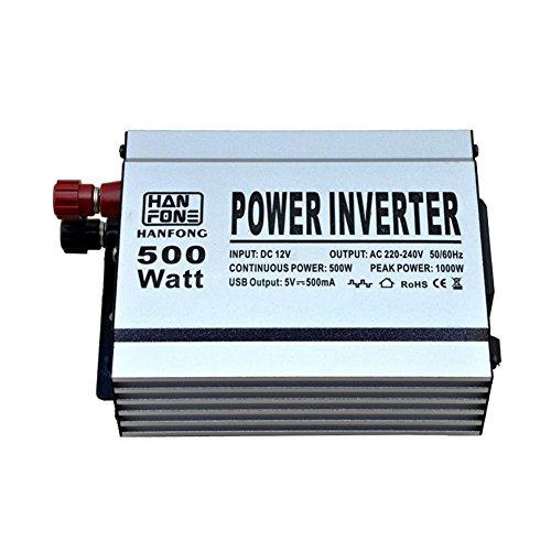 Preisvergleich Produktbild Spannungswandler,Auto-Energien-Inverter 500W DC 12V zu 220V Wechselstrom-Konverter mit USB-Aufladeeinheit (Silber)