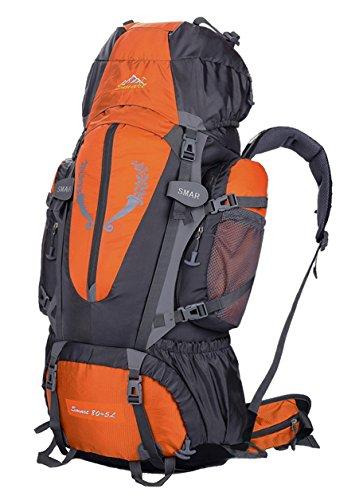 Zaino da trekking da 85 L, impermeabile, per sport, attività all'aperto, viaggi, arrampicata, escursioni, donna Bambino Uomo unisex, Yy-js-85l, Blue, 80*41*17cm Arancione - arancione