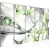 Bilder Blumen Magnolien Wandbild 200 x 80 cm Vlies - Leinwand Bild XXL Format Wandbilder Wohnzimmer Wohnung Deko Kunstdrucke Grün 5 Teilig - MADE IN GERMANY - Fertig zum Aufhängen 207255b
