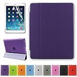 Besdata iPad 2 3 4 Hülle Smart Cover Schutz Case Leder Tasche Etui für Apple iPad Ständer Sleep Wake mit Displayschutzfolie Reinigungstuch Stift Lila
