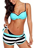 Dearlove Damen 3pcs Push Up Bikini Sets Sexy Gestreift Bademode Spaghettiträger Gepolstert Oberteil Triangle Seitlich Gebunden Bikinihose Swimwuit Blau XL