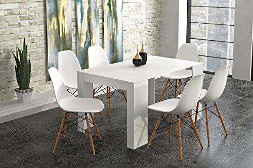 Comfort home innovation- tavolo consolle da pranzo allungabile fino a 140cm, bianco lucido, dimensioni chiusa: 90x 50x 78cm di altezza.