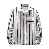 MRULIC Herren Streifentop Herbst Regular Fit Herrenshirts mit Brusttasche Langarmshirt stylisch(Rot+Weiß,EU-50/CN-2XL)