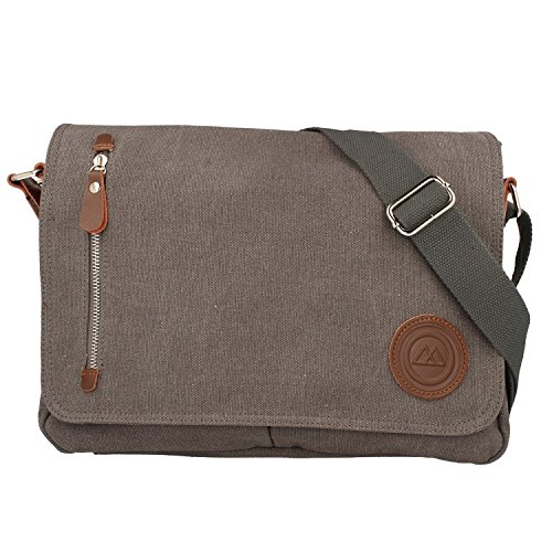 SODERBERGH Messenger Bag Umhängetasche Schultertasche Oslo Canvas Notebook bis 13' verschiedene Farben, Farbe:Grau