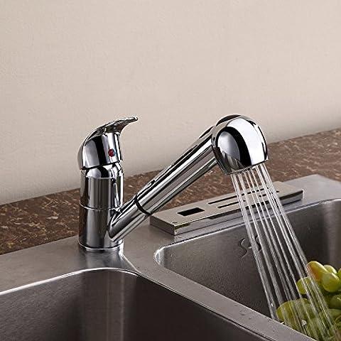 Furesnts casa moderna cucina e bagno rubinetto in ottone cromato cucina completa Rubinetto Rubinetto di cucina a caldo e a freddo può essere ruotata,(Standard G 1/2 tubo flessibile universale