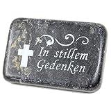 Stein mit Spruch zum Legen aufs Grab - In stillem Gedenken - schwarz - Grabschmuck Grab Trauer C