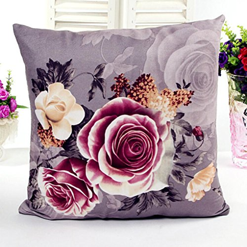Home decor, Amlaiworld Printing Dyeing Peony Sofa Bed Home Decor Pillow Case Cushion Cover (Gray)
