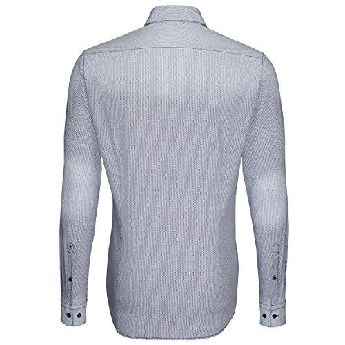 Seidensticker Herren Langarm Hemd Schwarze Rose Slim Fit Washed Spark blau / weiß kariert 442177.19 Blau