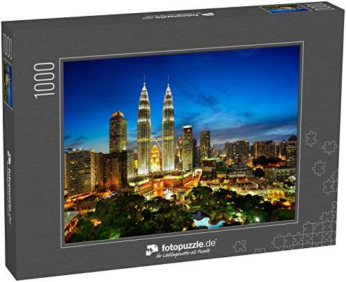 Puzzle 1000 Teile Draufsicht auf die Skyline von Kuala Lumpur bei Dämmerung, Malaysia - Klassische Puzzle, 1000/200/2000 Teile, in Edler Motiv-Schachtel, Fotopuzzle-Kollektion 'Asien'