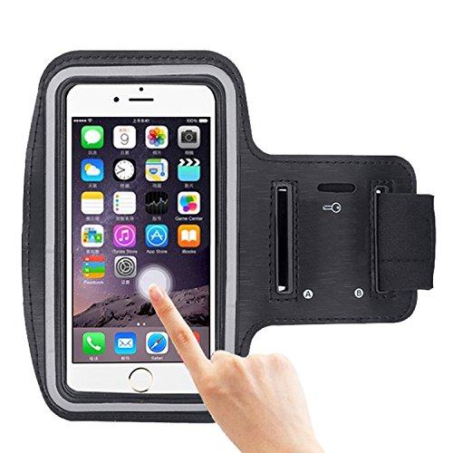 COOSA Smartphone brazal de los deportes y la titular de la clave para Apple Iphone 6 / 6S y otros similares Tamaño teléfonos inteligentes, con la correa de velcro ajustable para Correr, Ciclismo, Una Buena Condición, etc. (Negro)