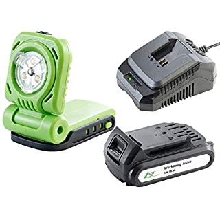 AGT Professional Bauleuchte: Akku-LED-Baulampe-Set, Li-Ion-Akku,Schnell-Ladegerät (Akku Baustrahler)