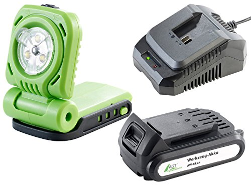 AGT Professional Akku Arbeitslampe: Akku-LED-Baulampe-Set, Li-Ion-Akku,Schnell-Ladegerät (Akku Werkzeug-Lampen)