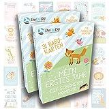 Baby Meilenstein-Karten für das 1. Lebensjahr – 2er Set von DaDaDii - Ideal als Geschenk für Zwillinge - Zur Geburt, Schwangerschaft, Taufe oder Weihnachten - Geschenkset für Junge und Mädchen