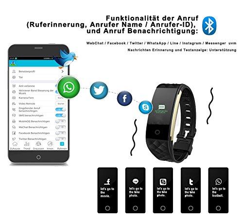 ROGUCI 0.96 Zoll OLED Bluetooth intelligenter Verfolger/Tracker, IP67 Wasserdichtes Tragbares Armband Wristband, Fitness Tätigkeits-intelligente Spurhaltung Armbinde mit Puls-Monitor, mehrfacher Bewegungs-Modus Fahrrad-Reiten , kompatibel mit androiden Smartphones 4.3 IOS iphones 7.0 BT 4.0 - 4