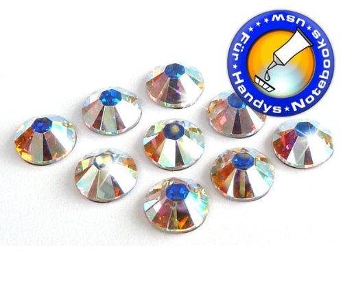 100 Stück SWAROVSKI ELEMENTS 2058 XILION - KEIN Hotfix, Farbe Crystal AB, SS5 (Ø ca. 1,8 mm), Strass-Steine zum Aufkleben (Xilion Crystal)