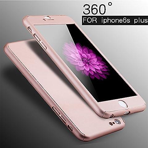 ividz iPhone 6s/6s Plus, 360grados Protección completa para Iphone 6S 6S Plus, Ultra Thin Carcasa rígida con protector de pantalla de cristal templado para iPhone 6S/6S Plus 4.75.5, oro rosa, 6s