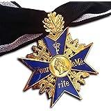 Trikoty Grand Pour Le Merite Cross medaille met eikenblad blauw Max 24k vergulde Franse hoogste eer Award + lint reproductie