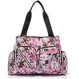 Complexion bolsa de la mujer Casual totes familia viaje Beach Park Picnic mensajeros pañal bolso bandolera mochilas bolsas maquillaje bolsas gris bosque con bolsillos, mujer, Pink Flowers, large