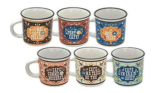 Natives 612840 Set de 6 Tasses à Café Céramique, Multicolore, 5,7 x 5,7 x 5,5 cm