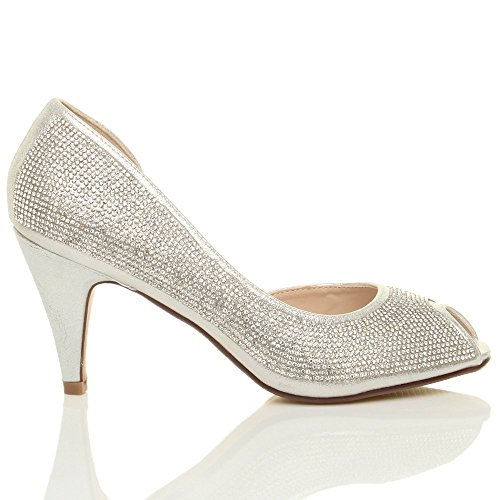 Damen Hohen Absatz Peep Toe Strass D'orsay Offene Seite Schuhe Sandalen Größe Silber