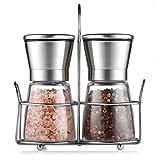 Cmxing Pfeffermühle Set mit Ständer Manuelle Salzmühle Set mit Einstellbarer Keramikmahlwerk Edelstahl & Glas-Körper Gewürzmühle