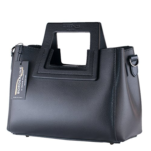 BORDERLINE - 100% Made in Italy - Borsa rigida da Donna in Vera Pelle - LIDIA (Nero)