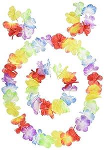 Rire et Confetti Reír y confeti - Disfraces de accesorios - - Fiehaw012 Accesorios Set On - Establecer Hawaii - 2 Cinta de cabeza Collar Pulseras