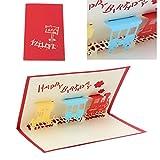 Jiamins 3D Zug Grußkarte Pop Up Paper Cut Postkarte Geburtstag Valentines Party Geschenk