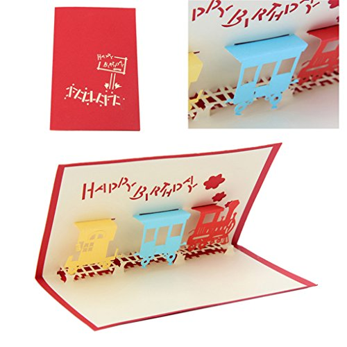 Landum 3d train biglietto d' auguri pop up paper cut cartolina compleanno regalo per san valentino, festa