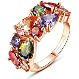 Yellow Chimes Sparkling Colors Flowerets Vine Swiss Cubic Zirconia 18K Rose Gold Plated Sparkling Ring for Women & Girls