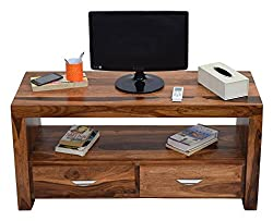 TimberTaste Sheesham Wood 1.10 Meter Natural Teak Finish 2 Draw TV Unit Cabinet Entertainment Stand