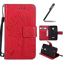Ukayfe Funda para Nokia Lumia 435,Carcasas para Nokia Lumia 435,Funda PU Piel para Nokia Lumia 435,Nokia Lumia 435 Lujo Caso,Protector Billetera Tapa Estuches Flip Cover Folio Funda Wallet De Cuero para Nokia Lumia 435 Soporte Plegable, Ranuras para Tarjetas y Billetes, Estilo Libro, Acceso a Botones, Cierre Magnético+1 * Ukayfe Stylus Touch Pen.-Los gatos y los árboles:Rojo