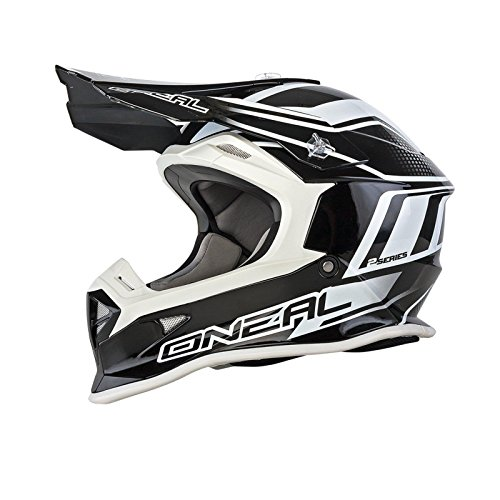 O'Neal 2Series MX Helm Manalishi Schwarz Weiß Motocross Enduro Offroad, 0200E-10, Größe L (59/60 cm)