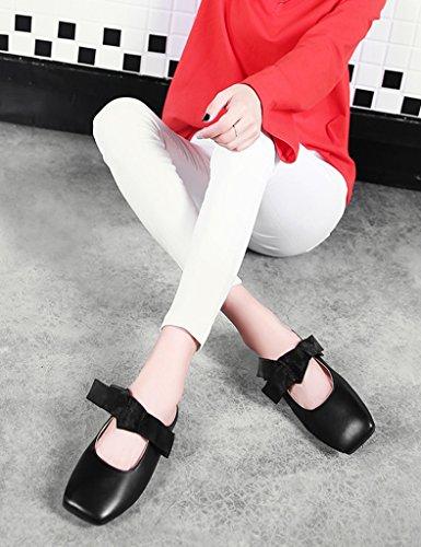 scarpe mezze superficiale retrò femminile Marrone bocca donna scarpe Primavera singolo HWF dimensioni Colore piatto Scarpe casual 39 pigri pantofole Nero donna wfvcSIqP
