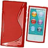 igadgitz S Line Rojo Case TPU Gel Funda Cover Carcasa para Apple iPod Nano 7ª Gen 7G 16GB + Protector de pantalla