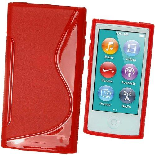 igadgitz Zweiton Rot Dauerhafte Kristall Gel Tasche TPU Hülle Schutzhülle Etui für Apple iPod Nano 7. Gen Generation 7G 16GB + Displayschutzfolie