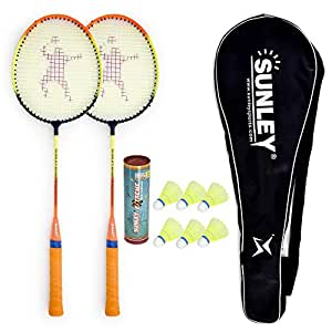 Sunley Swag Wide Body Badminton Combo Set of 2 Piece Racquet 6 Piece Plastic Shuttle with 1 Piece Attractive Cover