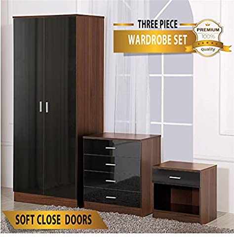 OSSOTTO HIGH GLOSS 3 Piece Bedroom Furniture Set - Includes Soft Close Wardrobe, 4 Drawer Chest & Bedside Cabinet (Black on Walnut)