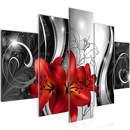 Bilder Blumen Lilien Wandbild 150 x 100 cm Vlies - Leinwand Bild XXL Format Wandbilder Wohnzimmer Wohnung Deko Kunstdrucke Rot Grau 5 Teilig - MADE IN GERMANY - Fertig zum Aufhängen 208453c