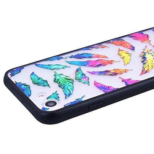 WE LOVE CASE Coque iPhone 7 Plus, Coque Transparente de Protection en Premium Hard Plastique Clair Dur Mince Coque iPhone 7 Plus Anti Choc Bumper, Anti-Rayures Anti-dérapante Coque Apple iPhone 7 Plus Plume